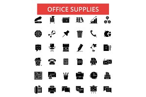 Office supplies illustration, thin line icons, linear flat signs, vector symbols, outline pictograms set, editable strokes