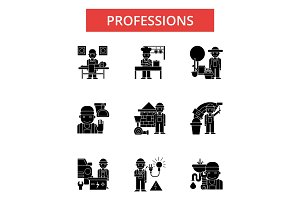 Professions illustration, thin line icons, linear flat signs, vector symbols, outline pictograms set, editable strokes