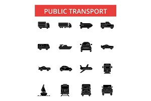 Public transport illustration, thin line icons, linear flat signs, vector symbols, outline pictograms set, editable strokes