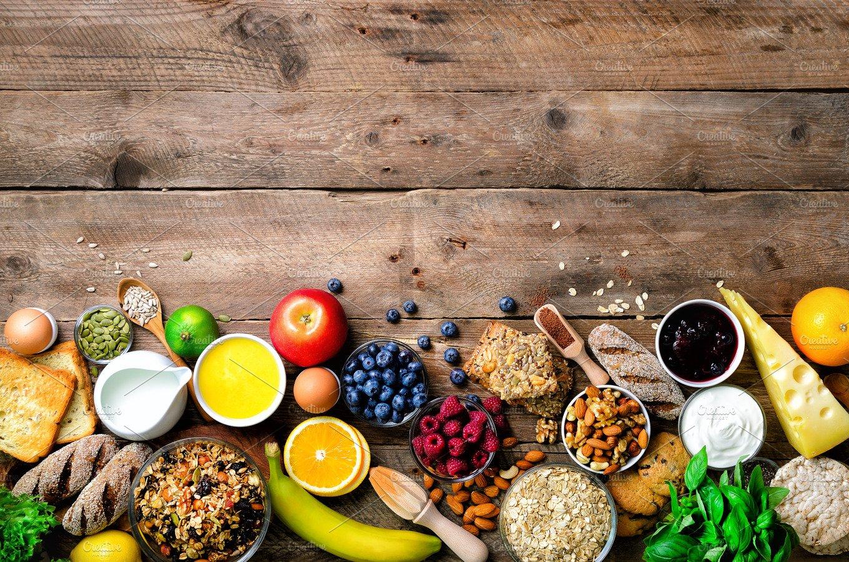 Healthy breakfast ingredients, food frame. Granola, egg ...