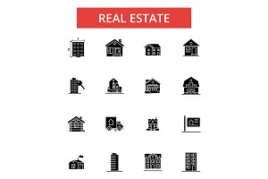 Real estate illustration, thin line icons, linear flat signs, vector symbols, outline pictograms set, editable strokes