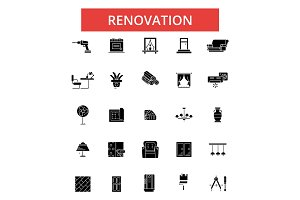 Renovation illustration, thin line icons, linear flat signs, vector symbols, outline pictograms set, editable strokes