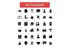 Restaurant food illustration, thin line icons, linear flat signs, vector symbols, outline pictograms set, editable strokes