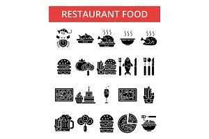 Restaurant illustration, thin line icons, linear flat signs, vector symbols, outline pictograms set, editable strokes