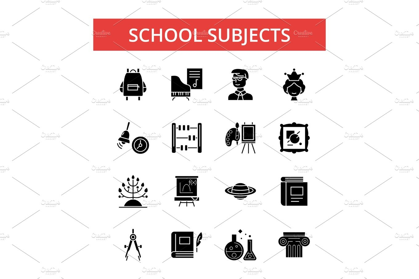 school subjects illustration thin line icons linear flat signs