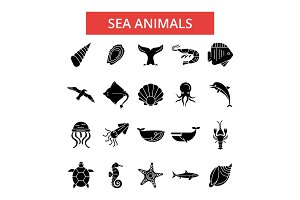 Sea animals illustration, thin line icons, linear flat signs, vector symbols, outline pictograms set, editable strokes