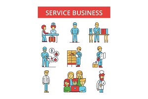 Service business illustration, thin line icons, linear flat signs, vector symbols, outline pictograms set, editable strokes