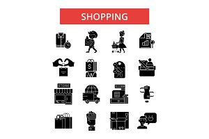 Shopping illustration, thin line icons, linear flat signs, vector symbols, outline pictograms set, editable strokes