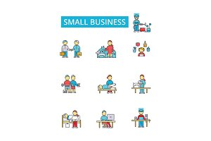 Small business illustration, thin line icons, linear flat signs, vector symbols, outline pictograms set, editable strokes
