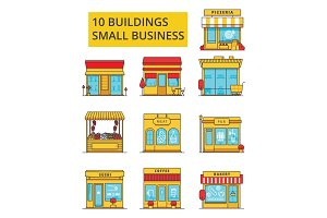 Small business buildings illustration, thin line icons, linear flat signs, vector symbols, outline pictograms set, editable strokes