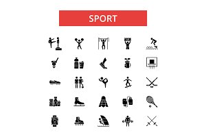 Sport illustration, thin line icons, linear flat signs, vector symbols, outline pictograms set, editable strokes