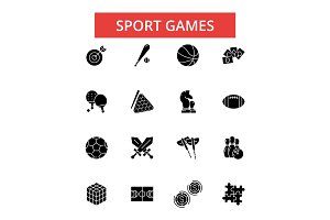 Sport games illustration, thin line icons, linear flat signs, vector symbols, outline pictograms set, editable strokes