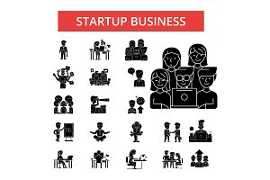 Startup business illustration, thin line icons, linear flat signs, vector symbols, outline pictograms set, editable strokes