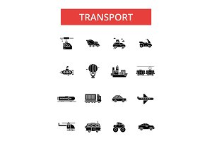 Transport illustration, thin line icons, linear flat signs, vector symbols, outline pictograms set, editable strokes