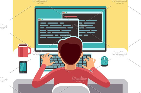 Young Man Programmer Working On Computer With Code On Screen Student Programming Vector Concept