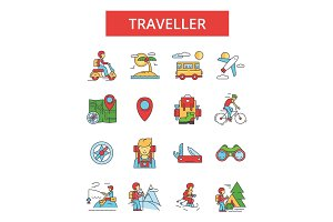 Traveller illustration, thin line icons, linear flat signs, vector symbols, outline pictograms set, editable strokes
