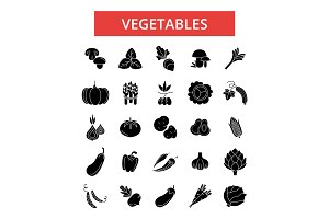 Vegetables illustration, thin line icons, linear flat signs, vector symbols, outline pictograms set, editable strokes