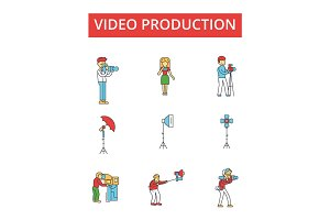 Video production illustration, thin line icons, linear flat signs, vector symbols, outline pictograms set, editable strokes