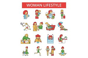 Woman lifestyle illustration, thin line icons, linear flat signs, vector symbols, outline pictograms set, editable strokes