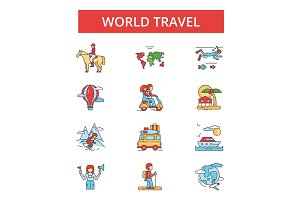 World travel illustration, thin line icons, linear flat signs, vector symbols, outline pictograms set, editable strokes