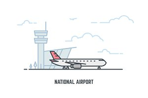National airport line illustration
