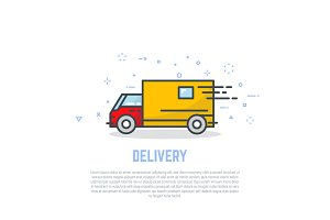 Delivery truck line logo
