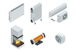 Isometric set of electric radiator or electric heaters.