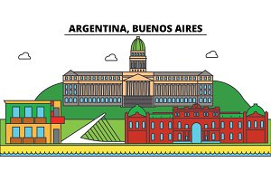 Argentina, Buenos Aires outline city skyline, linear illustration, banner, travel landmark, buildings silhouette,vector