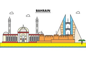 Bahrain outline city skyline, linear illustration, banner, travel landmark, buildings silhouette,vector