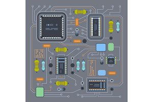 Computer IC chip template microchip on detailed printed circuit board design abstract background vector illustration.