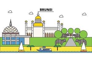 Brunei outline city skyline, linear illustration, banner, travel landmark, buildings silhouette,vector