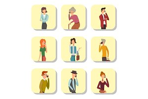 Trendy flat people with phone gadgets cards group characters using hi tech technology vector illustration.
