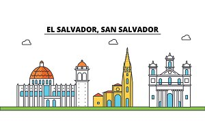 El Salvador, San Salvador outline city skyline, linear illustration, banner, travel landmark, buildings silhouette,vector