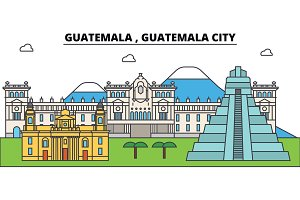 Guatemala , Guatemala City outline city skyline, linear illustration, banner, travel landmark, buildings silhouette,vector