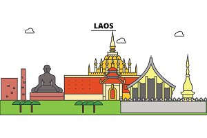 Laos outline city skyline, linear illustration, banner, travel landmark, buildings silhouette,vector