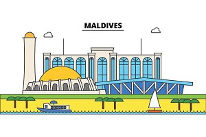 Maldives outline city skyline, linear illustration, banner, travel landmark, buildings silhouette,vector