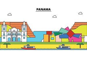 Panama outline city skyline, linear illustration, banner, travel landmark, buildings silhouette,vector