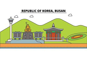 South Korea, Busan outline city skyline, linear illustration, banner, travel landmark, buildings silhouette,vector