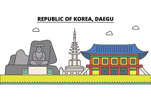 South Korea, Daegu outline city skyline, linear illustration, banner, travel landmark, buildings silhouette,vector