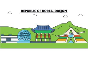 South Korea, Daejon outline city skyline, linear illustration, banner, travel landmark, buildings silhouette,vector