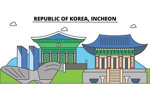 South Korea, Incheon outline city skyline, linear illustration, banner, travel landmark, buildings silhouette,vector