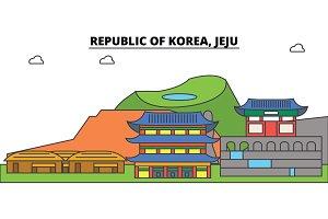 South Korea, Jeju outline city skyline, linear illustration, banner, travel landmark, buildings silhouette,vector