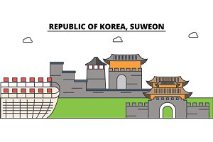 South Korea, Suweon outline city skyline, linear illustration, banner, travel landmark, buildings silhouette,vector