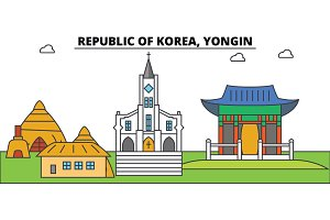 South Korea, Yongin outline city skyline, linear illustration, banner, travel landmark, buildings silhouette,vector