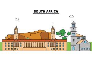 South Africa outline city skyline, linear illustration, banner, travel landmark, buildings silhouette,vector