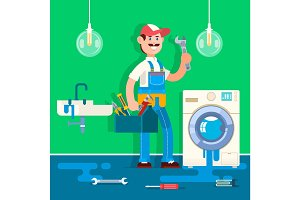Plumber repairing pipe on bathroom. Vector illustration