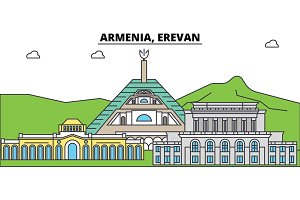 Armenia, Erevan outline city skyline, linear illustration, banner, travel landmark, buildings silhouette,vector
