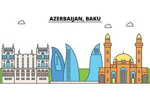 Azerbaijan, Baku outline city skyline, linear illustration, banner, travel landmark, buildings silhouette,vector