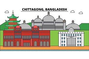 Chittagong, Bangladesh outline city skyline, linear illustration, banner, travel landmark, buildings silhouette,vector