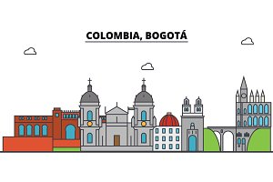 Colombia, Bogota outline city skyline, linear illustration, banner, travel landmark, buildings silhouette,vector